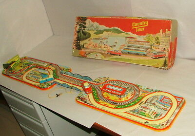 * 1950's TIN LITHO GERMAN COUNTRY TOUR SET W/ WIND UP CARS IN ORIGINAL BOX