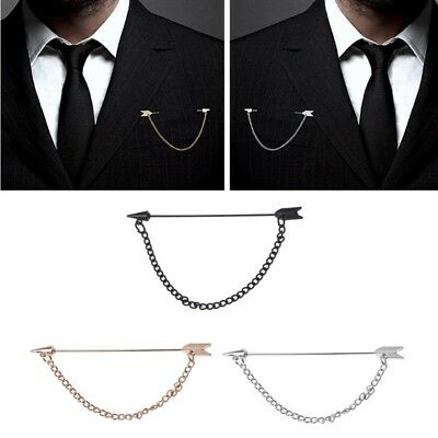 Men Arrow with Long Chain Tuxedo Lapel Pin Brooch Boutonniere for Suits Corsage