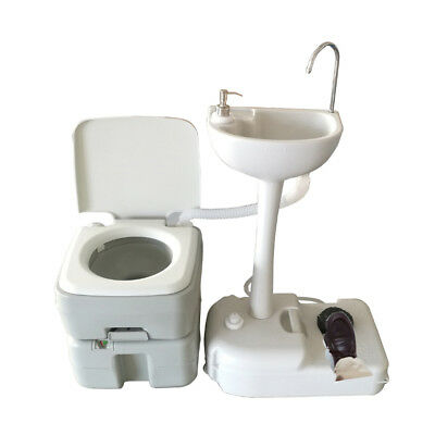 New Outdoor 10L Portable Toilet Camping Hiking Potty Flush with Wash Basin White