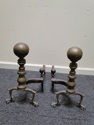 Pair Antique Brass Cannon Ball Claw Foot Fireplace Andirons