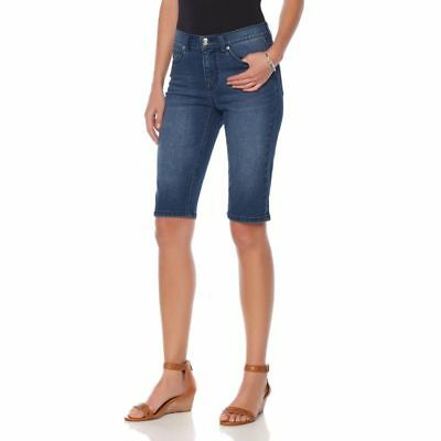 DG2 Diane Gilman Classic Stretch Denim Bermuda Shorts Midtone 12 NEW 547-941