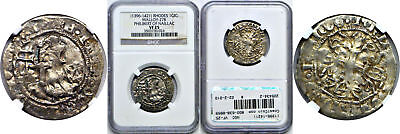 1396-1421 Rhodes Silver Gigliato Philibert Of Naillac Malloy 27B NGC VF-25