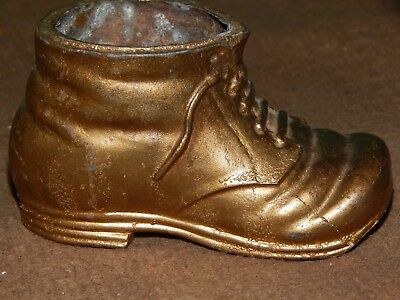 Vintage Original!  Cast Metal Baby, Youth Shoe Style Small Planter, Holder, or?