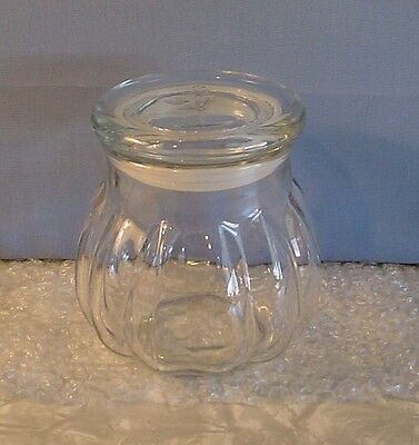NEW! BEAUTIFUL SCALLOPED CLEAR HEAVY GLASS CANISTER with ROSE EMBOSSED TOP