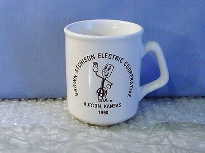 MINT! 1990 BROWN-ATCHISON ELECTRIC Willy Wiredhand WHITE COFFEE CUP Horton KS