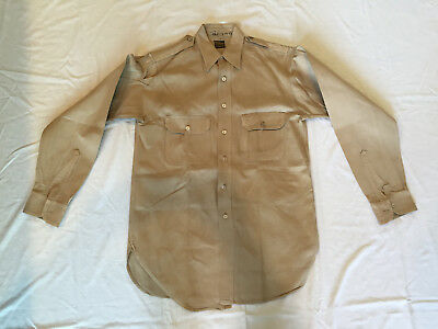 WWII US ARMY PRIVATE PURCHASE KHAKI OFFICERS SHIRT SIZE 14-1/2 x 33-1/2, NAMED