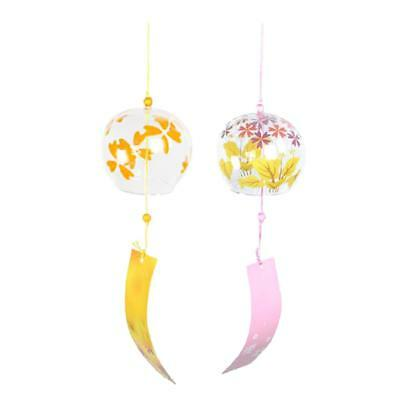 2pcs Japanese Glass Wind Chime Bell Hanging Ornament Gift House Window Decor