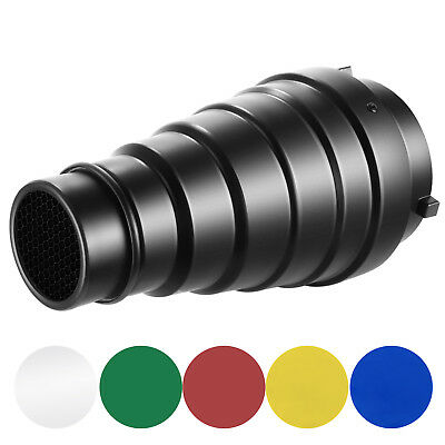 Neewer Conical Snoot Kit with Honeycomb Grid and 5 Pieces Color Gel Filters
