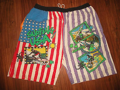 vintage 80`s shorts beach neon pants olschool surf 80er Jahre usa surfing M (L)