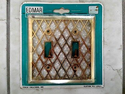 Edmar Creations 2 Toggle Wall Switch Plate Cover New Old Stock Brass and Pearl