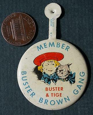 RARE 1930-40s Era Buster Brown and Tige the Dog Gang Shoestore lapel tab-VINTAGE