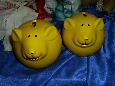 Lot of 2 cheese color MOUSE piggy BANKS *NEW*