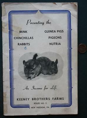 1940-50s Era New Freedom,Pennsylvania Mink-Chinchillas-Rabbits pictorial booklet