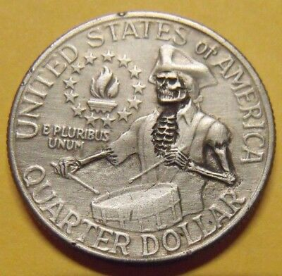 Hand Carved  Hobo nickel  skull zombie  drummer boy