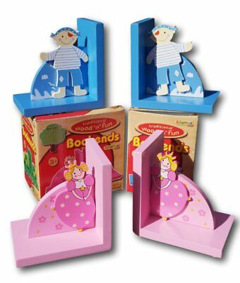 Set of two wooden Princess and pirate bookends perfect for a child's bedroom