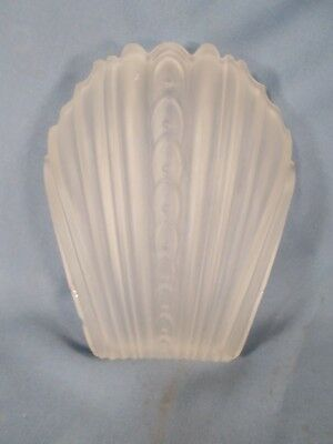 Vtg Modern Frosted ART DECO LIGHT FIXTURE SLIP SHADE CHANDLIER WALL SCONCE  F.S.