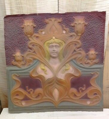 The Best Antique Figural Tin Ceiling Panel Tile Art Deco Nouveau Woman
