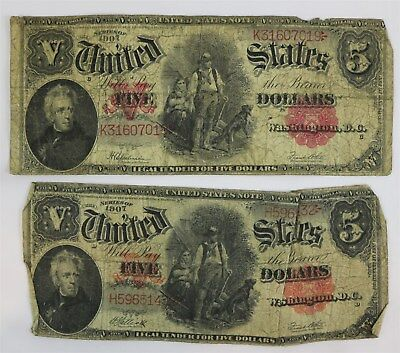 Two United States Series 1907 $5 Dollar Bills Large Notes Woodchopper Red Seal