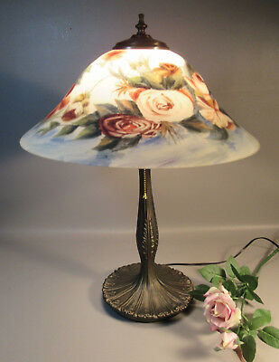 Reverse Painted Table Lamp w/Roses On Glass Shade w/Brass Base