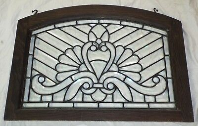 RARE Old LARGE Clear JEWELED LEADED BEVELED GLASS ARCH TOP WINDOW Wooden Frame