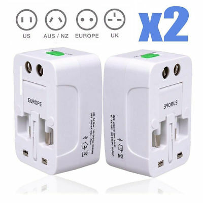 2 x US UK EU Europe and Universal AC Power Plug World Travel Adapter Converter