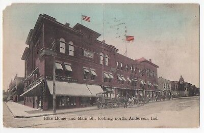 1911~Anderson,IN~Main St~COOK GAS DELIVERY WAGON~JACKSON-BURR CO~ELKS HOME~SHOPS
