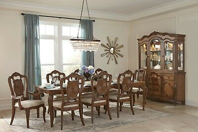Formal Pecan Finish Dining Table 8 Medallion Chairs Dining Room Furniture Set