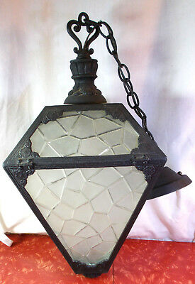 "Antique Vintage Cast Iron Porch Pendant Light Frosted Glass 22"" L Diamond Shape"
