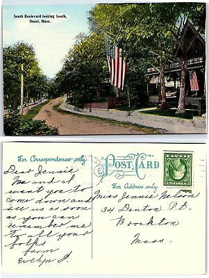 Vintage Postcard Postmarked 1916 - South Boulevard Looking South, Onset, Mass.
