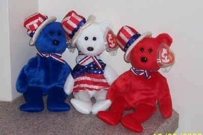 SAM RED, WHITE, AND BLUE BEAR Ty Beanie Baby MINT WITH MINT TAGS