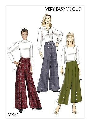 V9282 Vogue Sewing Pattern Very Easy Misses' HIGH-WAISTED PANTS Sizes 6-22 NEW