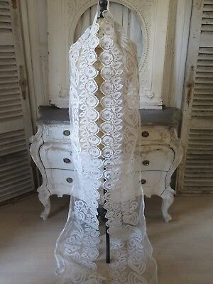 FRANKREICH 1880 Tüll Spitzen PANEL LACE Cornely Crewel BRODERIE Tulle SHABBY