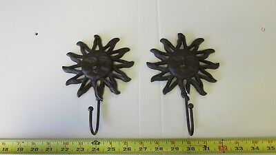 2 Cast Iron Sun Face Wall Mounting Clothes Towel Hook Hangers