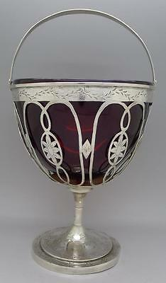 RARE Antique c.1820 Continental/German French Silver Bowl Dish Red Glass Insert