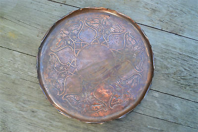 Original Arts and Crafts copper tray plaque charger stylised vines