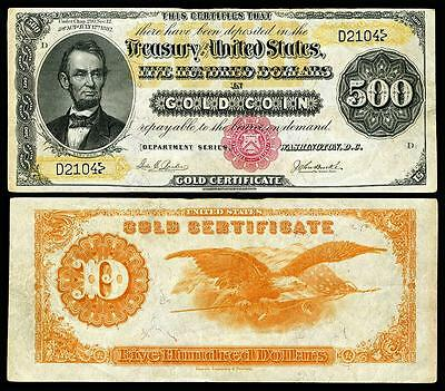Nice Crisp Unc. 1882 $500 Gold Certificate Copy Note! Read Description