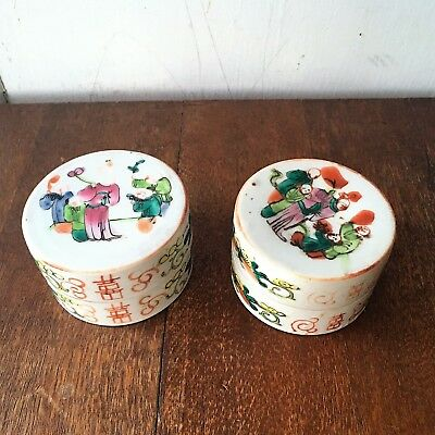 Pair of 2 Antique Chinese Porcelain Round Hand Painted Lidded Trinket Boxes
