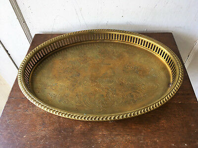 Vintage Oval Pierced Brass Etched Serving Tray - IFS Ltd, Israel Freeman England
