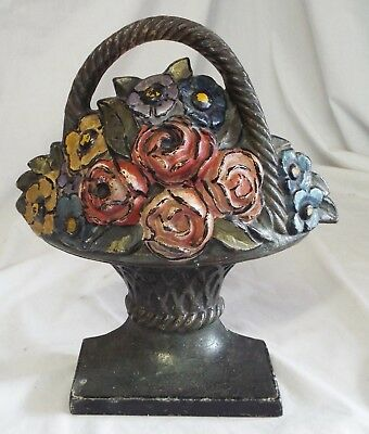 Old Antique HUBLEY Heavy Cast Iron BASKET OF FLOWERS Pink Roses DOORSTOP