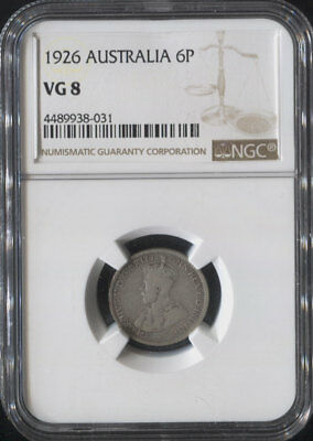 "Tt 1926 Australia 6 Pence ""george V"" Ngc Vg 8 Surviving Nearly A Century!"