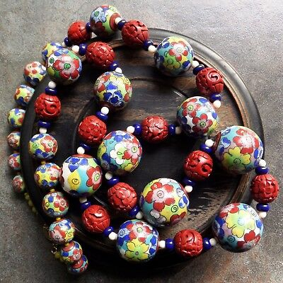 Dramatic Long Chinese Cinnabar & Deco Cloisonne Beads Necklace