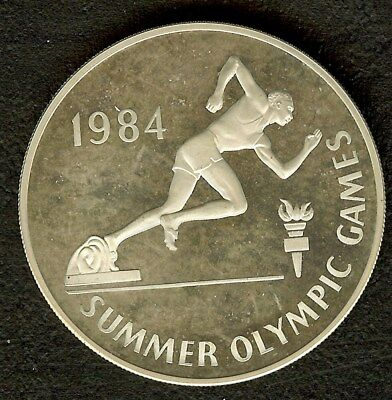 Jamaica 1984 Silver 10 Dollars Km#125 Olympics - Sprinter  Exceptional Pf Dcam