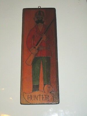 "VINTAGE HUNTER HUNTING DUCK WALL DECOR WOOD PLAQUE USED SHOTGUN 14"" x 5"""