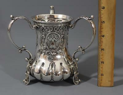 Antique Circa 1900, Dutch Hallmarks, Silver 3 Handled Loving Cup, No Reserve!
