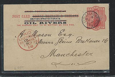 Niger Coast Oil Rivers (P2709B) 1893 Qv Psc To England With Msg #2