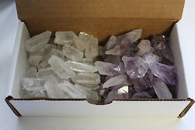 Mixed Amethyst & Quartz Crystal Collection 1/2 Lb Natural Clear Points