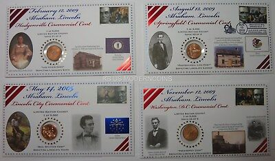 2009 Lincoln Cent Bicentennial Ceremonial Issue 4 Coin Set Limited Edition
