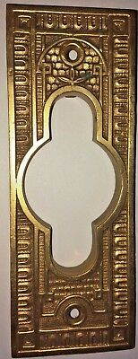 Antique Eastlake Victorian Brass Escutcheon Door Plate Wall Backplate Unusual
