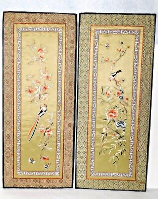 Pair of Magnificent Estate Rare Antique Chinese Silk Embroidery Panels