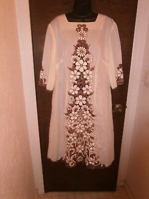 Vintage Embroidered Cut Work Caftan Cream & Brown Chest 44 Inches